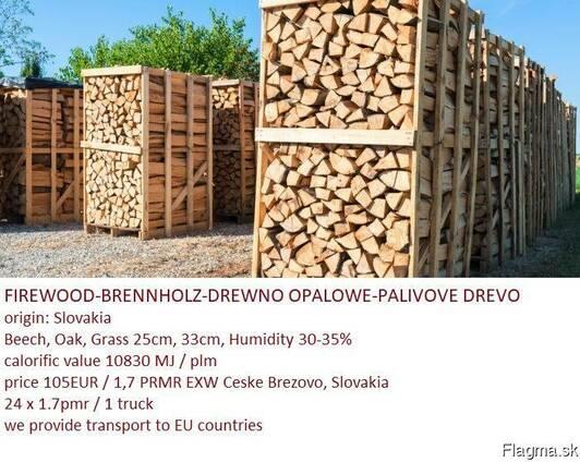 Firewood, beech, oak, hornbeam origin of Slovakia.
